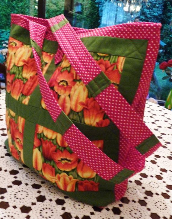 Quilt Tassen : Tulpen quilt tas panelen bloemen patchwork dames