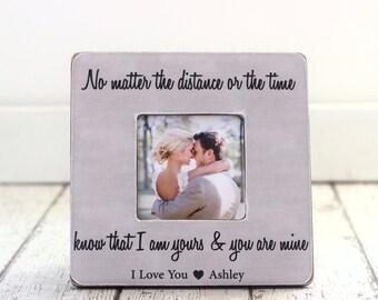 Long Distance LOVE Personalized Picture Frame GIFT Fiance Boyfriend Girlfriend Husband Wife