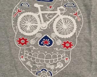 Red, white, and blue MTB sugar skull t shirt! Boys MTB shirt!