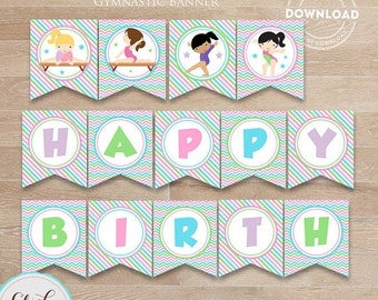 50% OFF SALE Gymnastic Birthday Banner, Printable Pennant Banner, Birthday Party Decorations, Birthday Party Supplies Instant Download