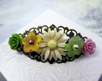 Beige Green Orange Purple Bridal Hair Barrette Flower Collage Hair Clip Country Wedding Hair Accessories Flower Hair Barrette Hair Piece