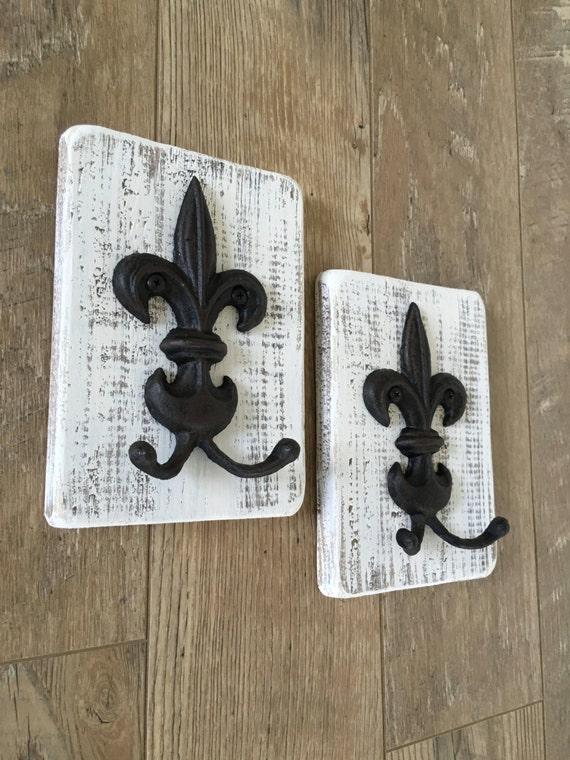 Reclaimed wood fleur de lis towel holder key holder jewelry - Fleur de lis towel rack ...