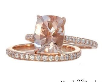 3.50 Ct. Cushion Cut Morganite & Diamond Engagement Ring 18K Rose Gold