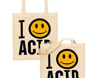 i love acid tote bag happy mondays smiley face acid house rave techno psychedelic
