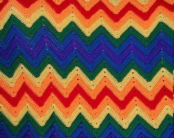 Rainbow Crocheted Oversized Ripple Afghan