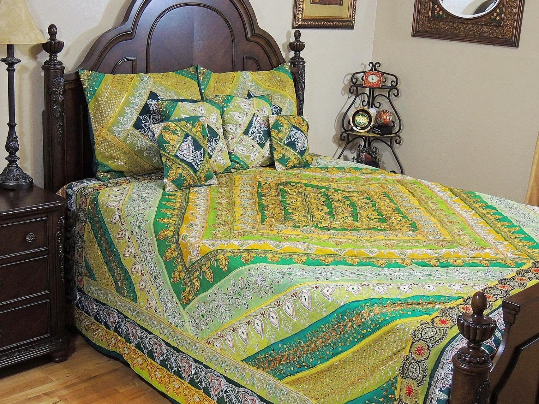Indian Bedding Decorative Green Sari Beaded Sequin Work