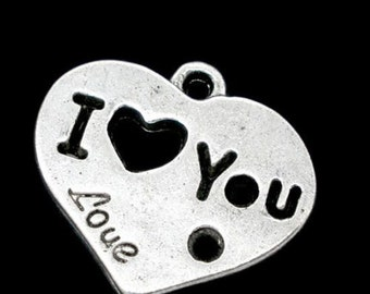 10Pcs Tibetan Silver Heart I Love You Charms Pendants 19x21.5mm