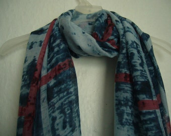 Tie Dyed Scarf, Blue Tie Dyed Plaid Scarf, Tie Dyed Scarf, Autumn Scarf, Spring - Summer Scarf, Accessories