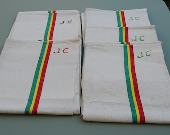 French vintage cotton/linen tea towel in new condition, never used. JC monogramme.   Vintage kitchen linens, circa 1920