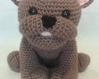 Crochet Dark brown French Bulldog - Soft toy French Bulldog - French Bulldog gift - French Bulldog - Handmade French Bulldog toy