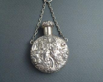 sterling silver repousse scent bottle pendant