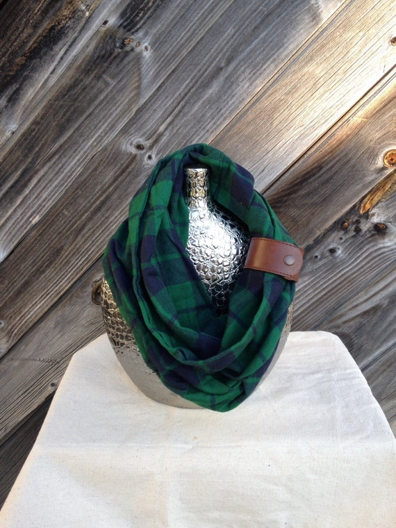 green and navy plaid flannel eternity scarf with a brown leather cuff