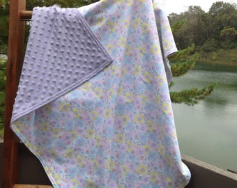 Baby flannel and minky blanket, toddler blanket. Pale yellow, blue, pink and purple flowers.