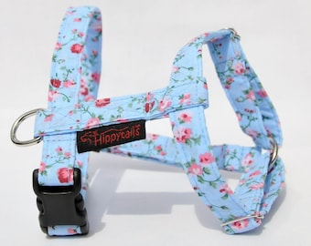 Adjustable Dog Harness (traditional style), Light Blue with Pink Summer Roses