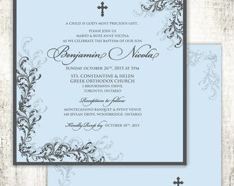 Boy Baptism Christening Confirmation Religious Invitation // Blue // Cross // Swirls and Vines //PRINTED Invites