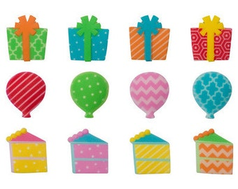 12 Pack Birthday Edible SugarSoft Cake and Cupcake Decorations