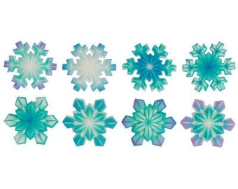 12 Pack Snowflakes Edible SugarSoft Cake and Cupcake Decorations