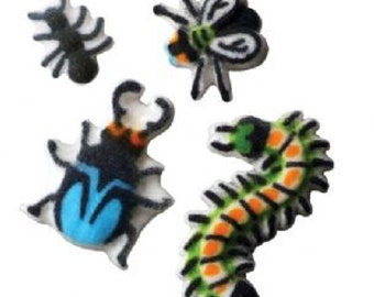 12 Pack Bugs Edible Molded Sugar Cake and Cupcake Decorations
