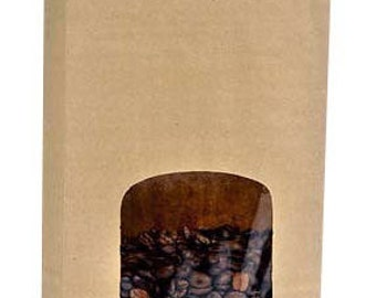 25Pack 1lb Tin Tie Bakery / Coffee Packaging Bags- Kraft Square Window