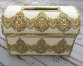 wedding moneybox/wedding card box/gold and ivory/wedding money/