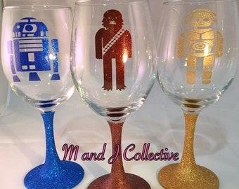 Star Wars wine glasses R2D2,Yoda, C3PO, Darth Vader or Chewbacca sparkly glittered stems