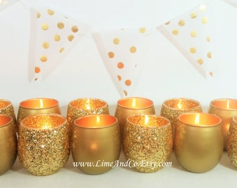 12 Votive Candle Holders, Gold Candle Holder, Tealight Holder, Bridal  Shower Decorations,