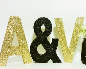 Wedding Sign, Wood Letters, Ampersand Glitter Letter, Gold Wedding Decorations, Sweetheart Table Decor, Wooden Initials, Ampersand Symbol