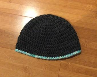 the benjamin grey with blue stripe toddler hat