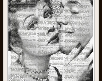 Lucy and Desi  I Love Lucy -Desi Arnaz and Lucille Ball Custom Art Print--8.5x11