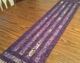 Purple table runner, Quilted table runner, sideboard runner, purple quilted runner, batik table runner, purple batik runner
