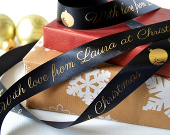 Christmas 25mm Personalised Printed Ribbon - Christmas presents - ribbon for hampers - children's Christmas presents - gifts from santa