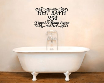 Hot Bath Wall Decal   Bathroom Decal   Bathroom Vinyl Letters   Wall Quotes    Wall
