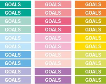 Goals Heading stickers, planner header stickers, planner stickers, agenda notebook journal stickers, reminder eclp filofax happy planner
