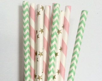 Pink and Mint and Gold Paper Straws ~ Baby Girl Baby Shower ~ Gender Reveal ~ First Birthday Party