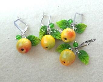 Apple earrings, polymer clay