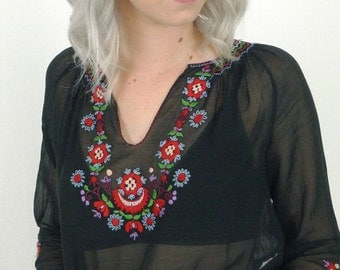 Divine 40's Sheer Embroidered Black Gauze Peasant Blouse