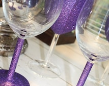 Set of 6 sparkly glitter wine glasses in any colour of your choice - drinky bit, stem or a bit of both!!!