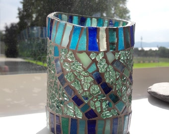 Mosaic candleholder,  from recycled winebottle nr. 266