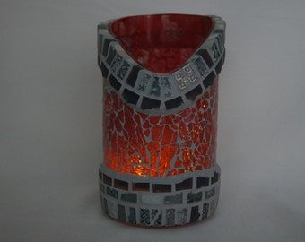 Mosaic candleglass from recycled winebottle Nr.  269