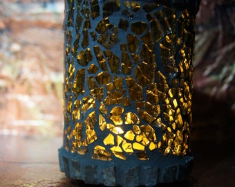 candleholder, mosaic,  from recycled beer bottle nr 134