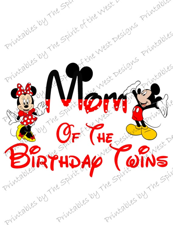 Mom Of The Birthday Twins Minnie And Mickey Mouse Iron On
