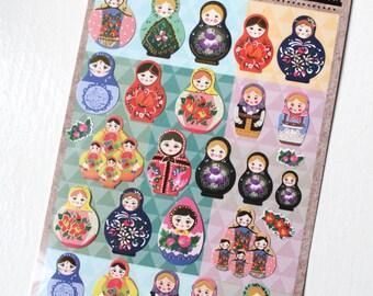 Russian Doll Planner Stickers/ Kawaii Matryoshka Dolls Scrapbook stickers