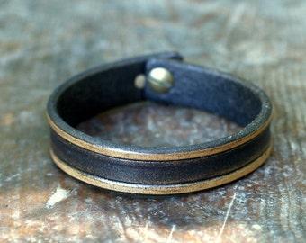 Mens leather bracelet, handmade leather jewelry