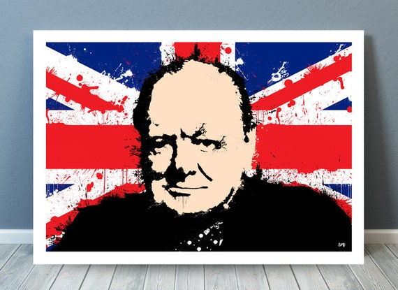 Winston Churchill // Paint Splatter // Unique A4 / A3 Art Print