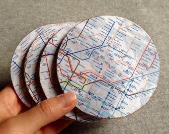 London Tube Map Cork Coasters - Set of 4