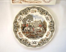 "Vintage Churchill Herring's Hunt ""The Meet"" Collector's Plate, Fox Hunt, England, Heritage Mint, Hunting Scene, New in Box"