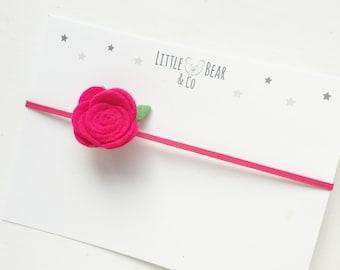 Hot Pink Rose Flower Felt Newborn / Baby Headband - Photo Prop