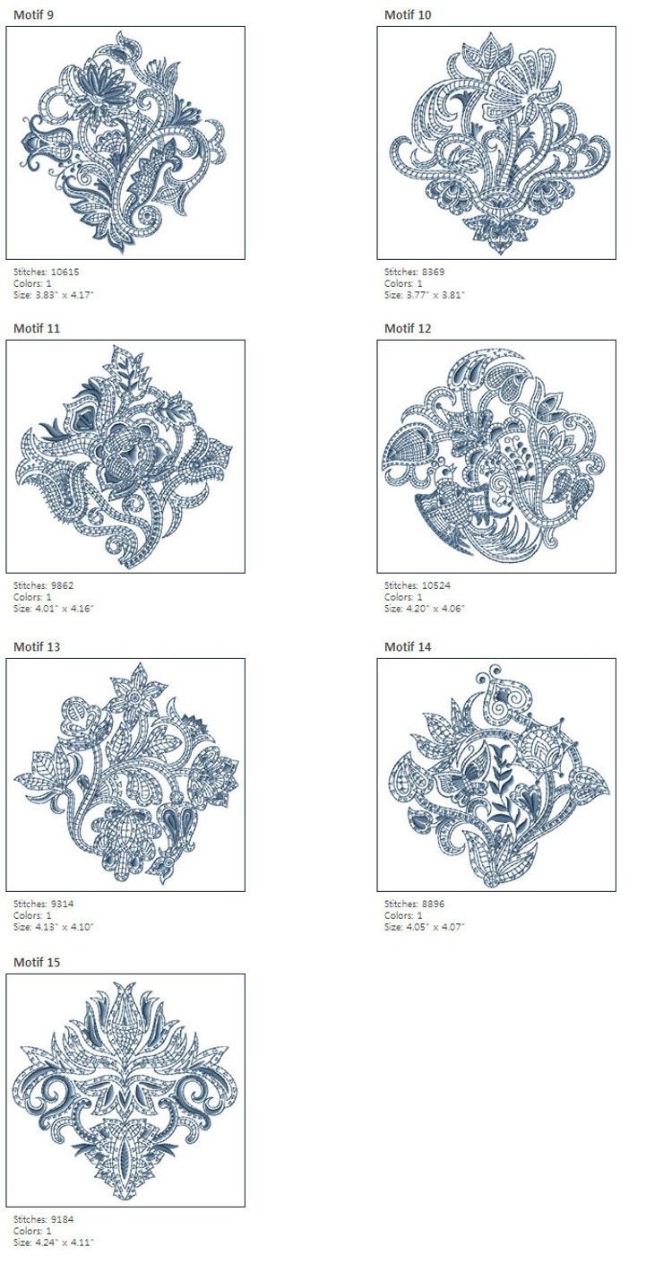 Paisley embroidery motifs makaroka
