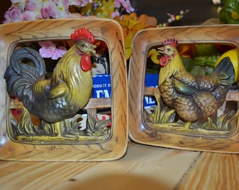 Napcoware Rooster and Chicken Plaques