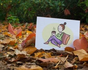 postcard A6 / girl with tea